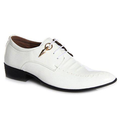 Hot Metal Patent Leather Lace Up Formal Shoes - 43 WHITE Mobile