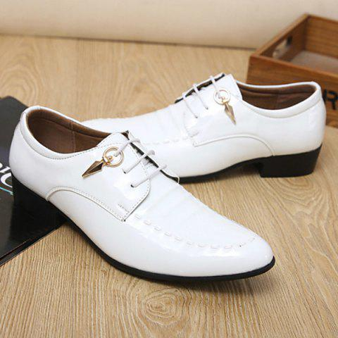 Shops Metal Patent Leather Lace Up Formal Shoes - 43 WHITE Mobile