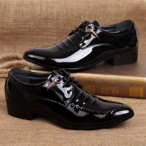 Shop Metal Patent Leather Lace Up Formal Shoes - 41 BLACK Mobile