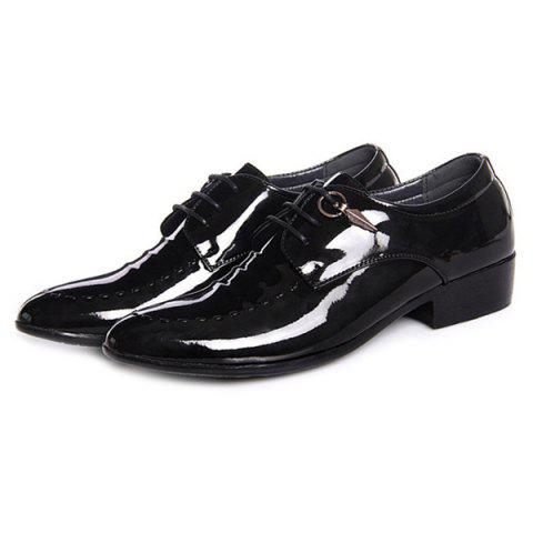 Cheap Metal Patent Leather Lace Up Formal Shoes - 41 BLACK Mobile