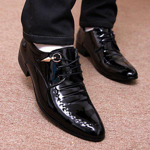 Cheap Metal Patent Leather Lace Up Formal Shoes - 42 BLACK Mobile