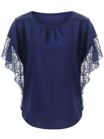 Trendy Loose Lace Splice Hollow Out Blouse - S DEEP BLUE Mobile