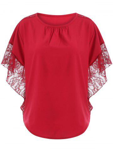 Outfit Loose Lace Splice Hollow Out Blouse