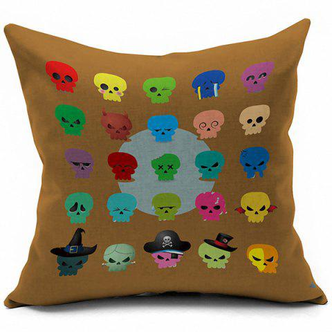 Online Colorful Skulls Pattern Halloween Pillow Case