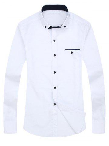 Trendy Button-Down Faux Pocket Design Shirt