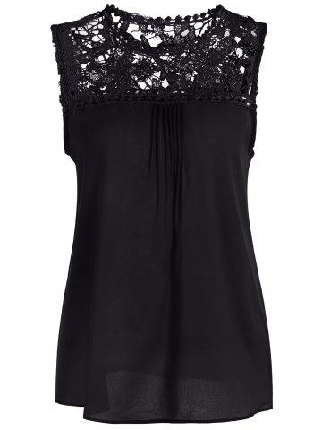 Affordable Openwork Lace Spliced Shirred Tank Top