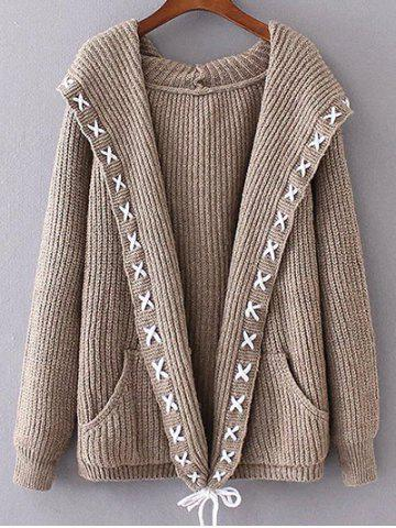 Hooded String Cable Knit Cardigan - KHAKI ONE SIZE