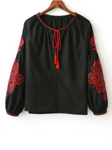 Sale Tie Neck Long Sleeve Embroidered Blouse BLACK L