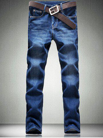 Affordable Zipper Fly Five-Pocket Straight Leg Jeans