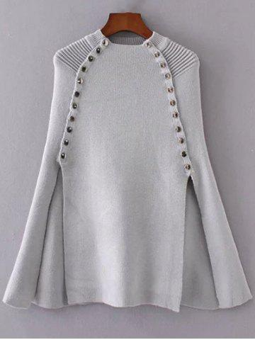 Unique Cape Rivet Slit Knitwear