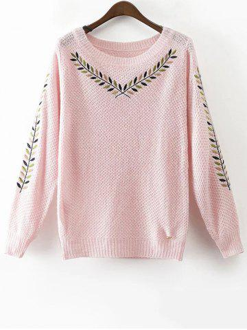 Chic Round Neck Embroidered Sweater PINK M