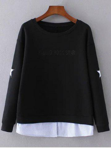 Shops Layered Hem Star Sweatshirt BLACK L