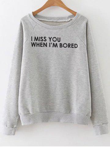 Latest Raglan Sleeve Lettering Sweatshirt GRAY L