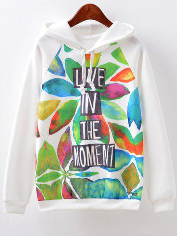 Discount Letter Print Hoodie WHITE L
