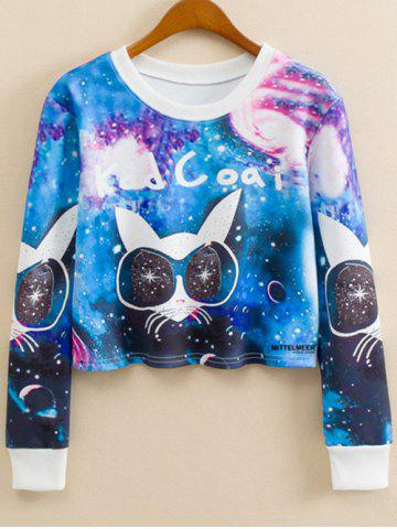 Latest Crew Neck Cartoon Cat Print Sweatshirt