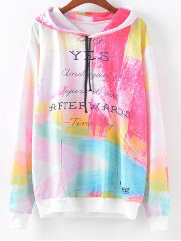Fancy Tie-Dyed Colorful Letter Print Hoodie MULTI XL