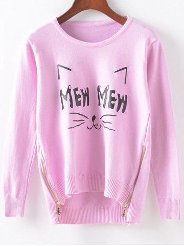Shop Cartoon Print Side Zippered Knitwear