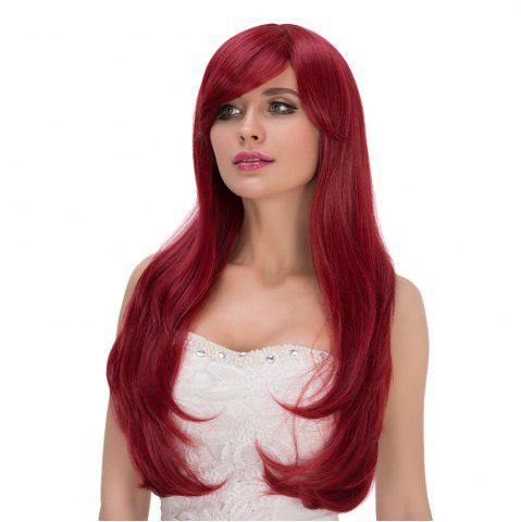 Fashion Shaggy Long Wavy Tail Adduction Oblique Bang Lolita Wig - WINE RED  Mobile