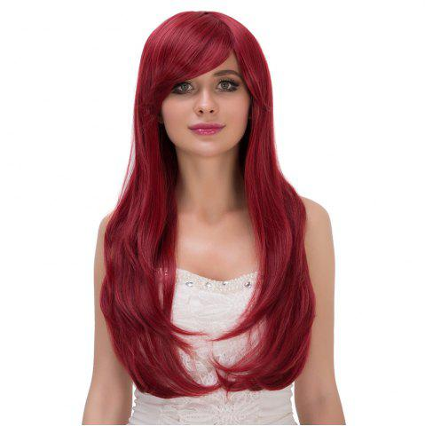 Unique Shaggy Long Wavy Tail Adduction Oblique Bang Lolita Wig - WINE RED  Mobile