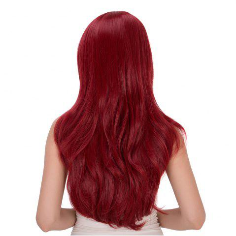 New Shaggy Long Wavy Tail Adduction Oblique Bang Lolita Wig - WINE RED  Mobile