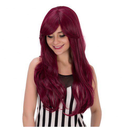 Store Long Fluffy Wavy Tail Adduction Oblique Bang Lolita Wig - RED VIOLET  Mobile