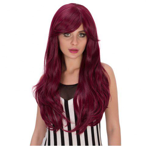 Outfit Long Fluffy Wavy Tail Adduction Oblique Bang Lolita Wig - RED VIOLET  Mobile