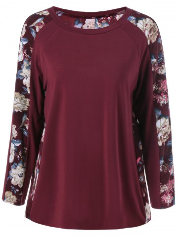 Fashion Raglan Sleeve Floral T-Shirt WINE RED XL