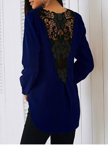 Lace Patchwork Surplice Blouse - Deep Blue - M