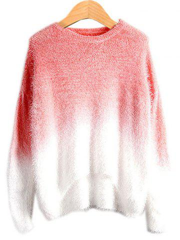 Unique High Low Ombre Sweater WATERMELON RED ONE SIZE