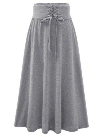 Lace-Up High Waist Maxi Skirt - LIGHT GRAY ONE SIZE