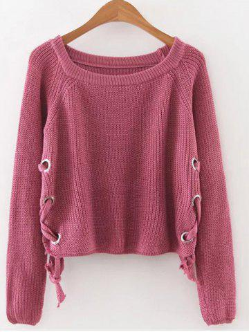 Unique Lace Up Pullover Jumper RED ONE SIZE