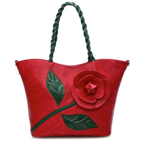 Shops Color Splicing Rose Stitching Shoulder Bag