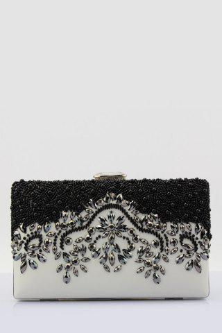 Affordable Beading Color Splice Evening Bag WHITE AND BLACK