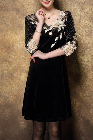 Shops Velvet Swing Dress With Applique GOLDEN XL