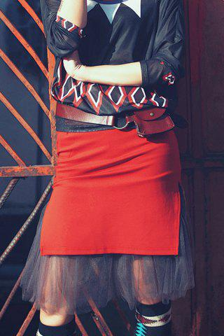 Fashion Knee Length Fitted Tulle Skirt ORANGE RED XL