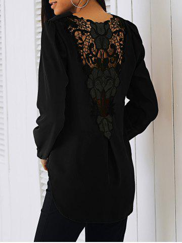 Dentelle Patchwork Surplice Blouse - BLACK - S