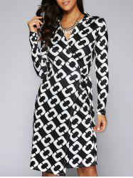 Tie Side Long Sleeve Graphic Surplice Dress