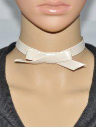 Bowknot Faux Leather Choker Necklace -