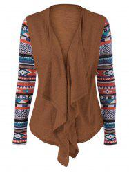 Geometric Pattern Irregular Front Fly Cardigan