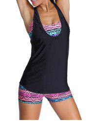 Tribal Print Criss-Cross Wire Free Three Piece Swimsuit