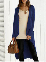 Tie Back Asymmetrical Trench Coat - DEEP BLUE