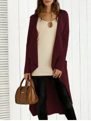 Tie Back Asymmetrical Trench Coat - WINE RED