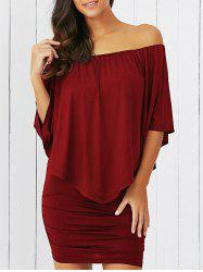 Overlay Off-The-Shoulder Bodycon Mini Dress