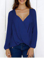 Surplice High Low Hem Chiffon Blouse - DEEP BLUE