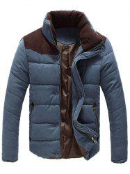 Color Block Zipper Snap Button Stand Collar Padded Coat For Men - SAPPHIRE BLUE