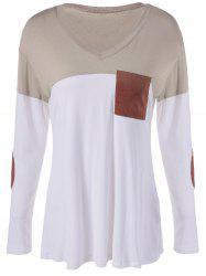 Color Block Single Pocket T-Shirt - WHITE/BROWN XL