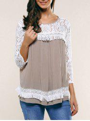 Lace Patchwork Fringed Blouse -