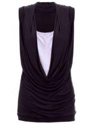 Stylish Square Neck Cap Sleeve Pleated Wrapped T-Shirt For Women
