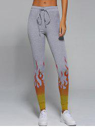 Active Flame Print Drawstring Pants -