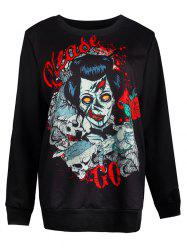 Ghost Print Pullover Loose Sweatshirt - BLACK L